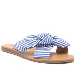 NEW Blue/White Striped Bow Sandals (various sizes)
